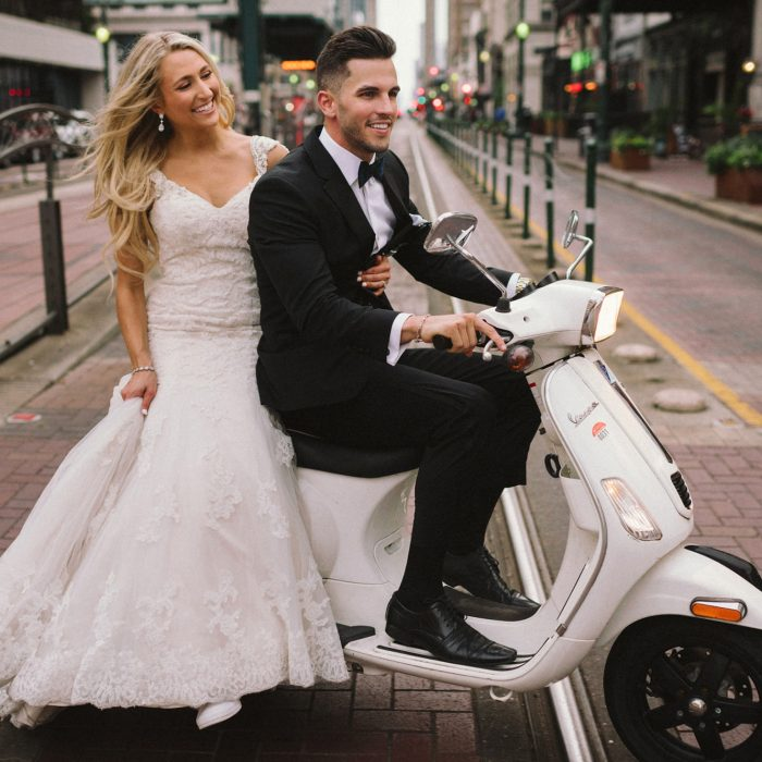 Dallas & Mitchell Downtown Houston Vintage Vespa Wedding Photos | Texas Photographer